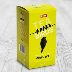 Welsh Tea Birds – 15 Green Tea Pyramid Bags