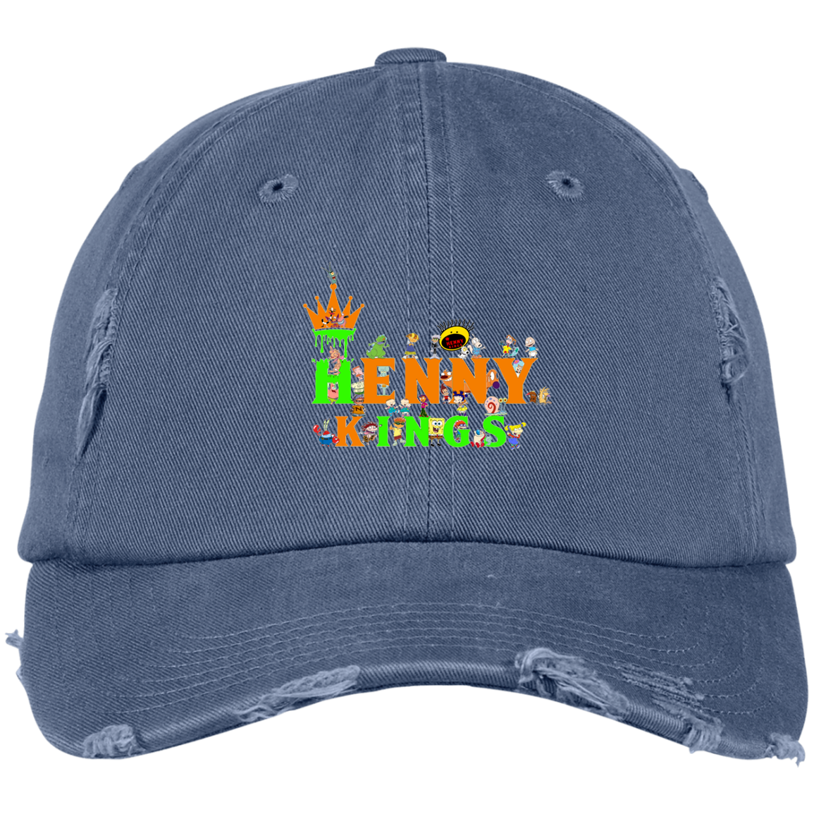90's Back Distressed Dad Cap - Henny Kings