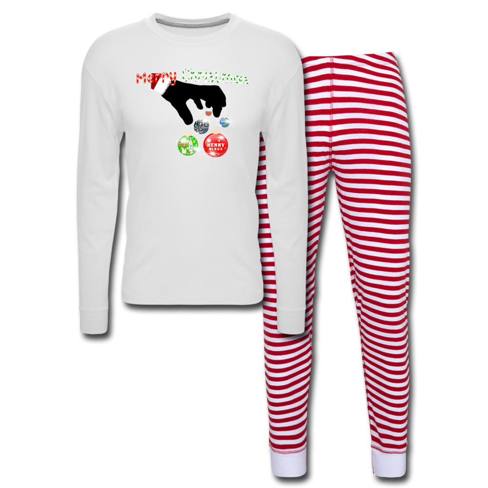 HK CHRISTMAS Unisex Pajama Set - white/red stripe