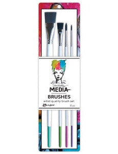 Dina Wakley Media Stiff Bristle Paint Brush 4/Pkg