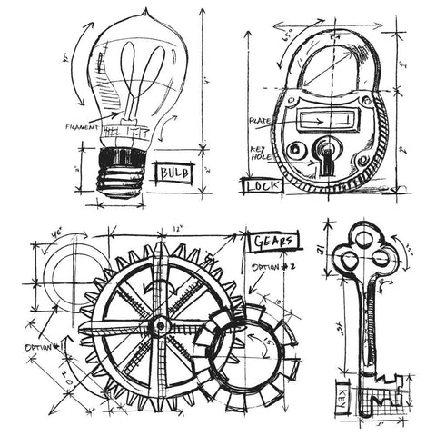 Tim Holtz Stampers Anonymous - INDUSTRIAL BLUEPRINT