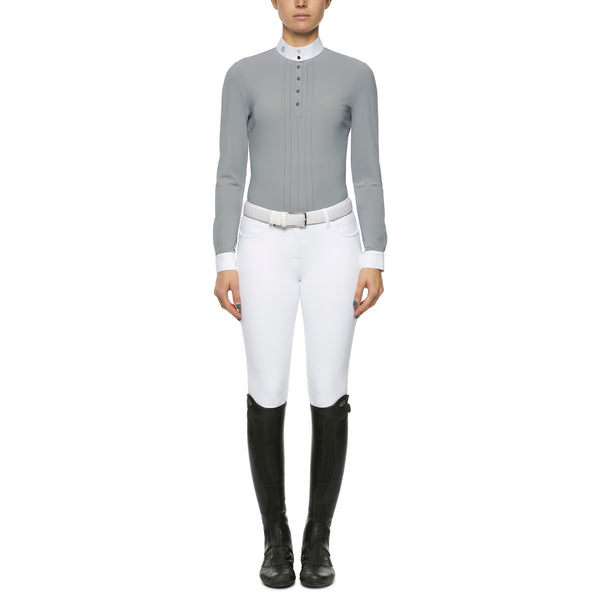 Cavalleria toscana Techn Shirt W/Snap Buttons L/S show shirt.Cavalleria Toscana's twist on a classic stye is perfection. The long sleeve shirts has a pin tuck pleated front with logo sliver snap button opening. Effortless style as we come to expect from CT.