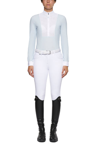 Cavalleria Toscana Perforated Bib And Collar L/S Jersey Competition Shirt. Start the spring season with this stunning perforated Cavalleria Toscana show shirt. Perforated white bib and collar with a delicate CT logo centre front with a luxury pale blue jersey body give this shirt a modern elegance.  Also available in white