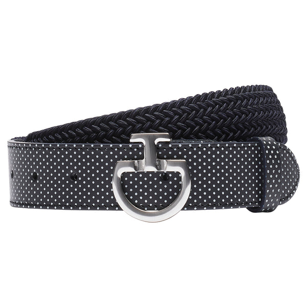 Cavalleria Womens elasticated belt with perforated leather detail and CT Clasp