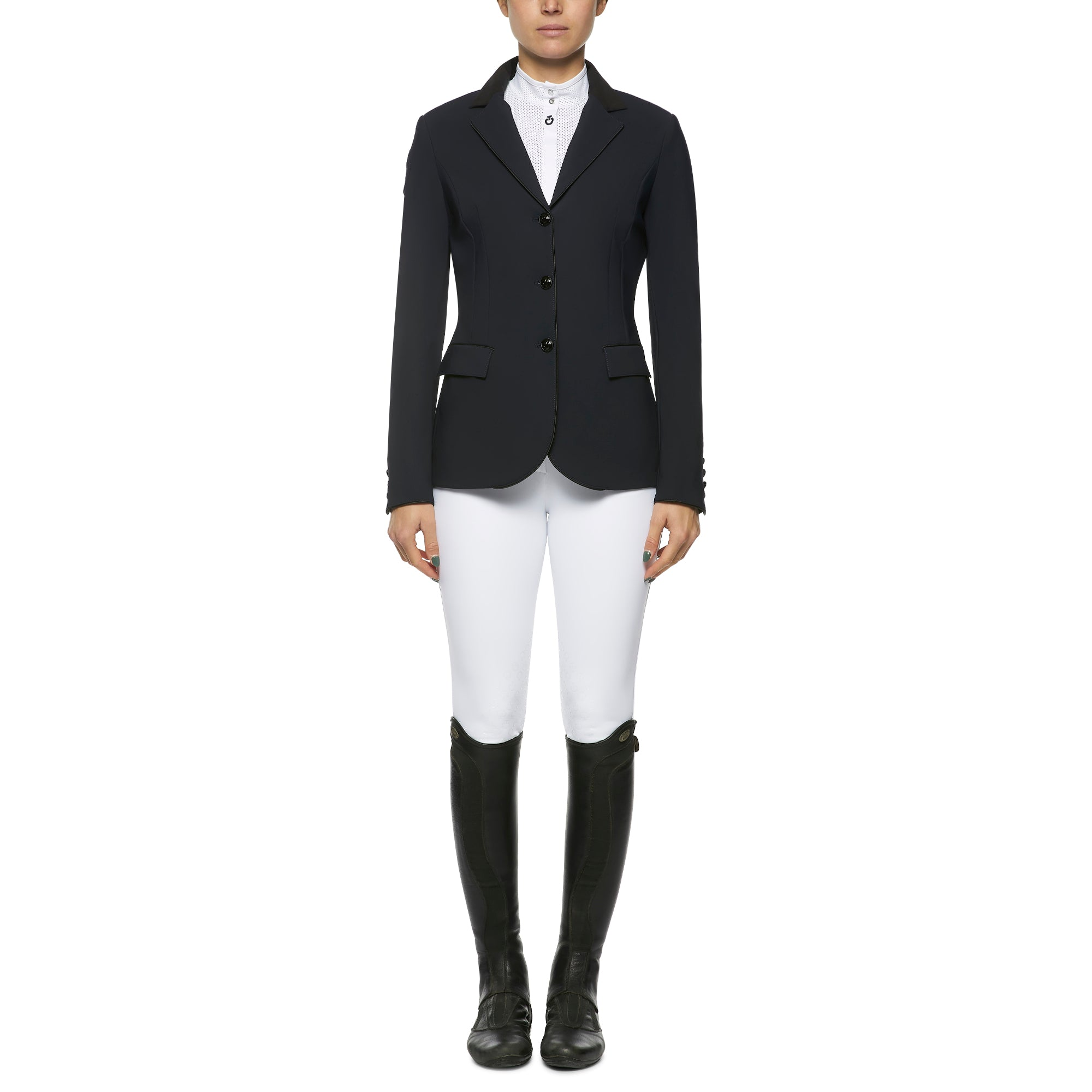 The Cavalleria Toscana GP Riding Jacket competition jacket never goes out of style and exudes typical CT sophistication and quality.  The tailoring is in a class of its own allowing for an extremely flattering fit whilst giving maximum movement when riding. The luxury soft stretchy jersey is comfortable, easy to care for and doesn't go out of shape ensuring you always look your best in the ring.  If your size is not in stock we can order it in for you subject to availability