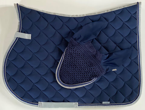 Torpol Navy and Silver Jumping Saddle Pad and Fly vale