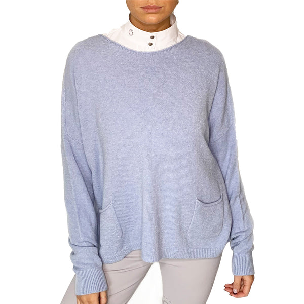 Round Neck jumper with front pocket detail.  This versatile jumper is super soft and an easy piece to have in your wardrobe. Great for shows when its a but chilly or equally usable on the yard.   50% Viscose  27%polyester  23% Polyamide