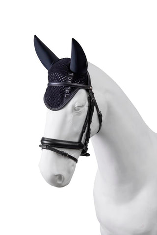 Torpol master ear net / fly vale in black with the Torpol tape. Matching Torpol master rugs and saddle cloths available.
