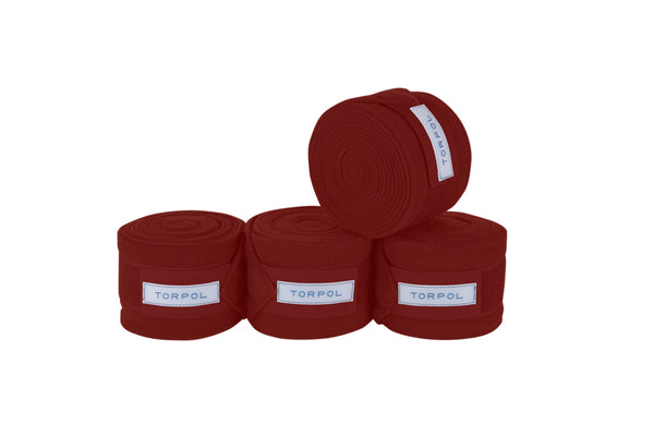 Torpol luxury equestrian fleece bandages in burgundy.  Matching items available