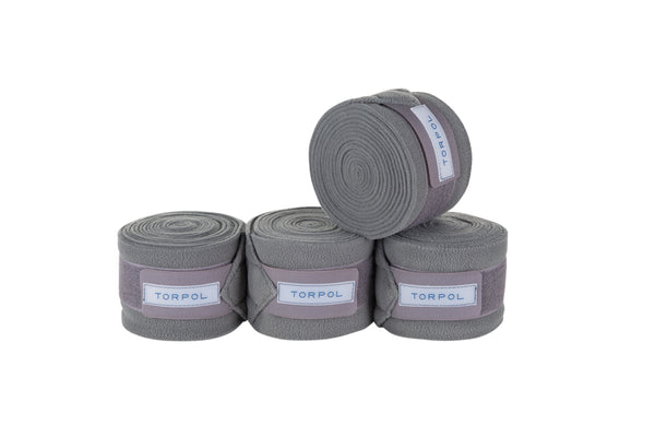 Torpol luxury equestrian fleece bandages in grey.  Matching items available