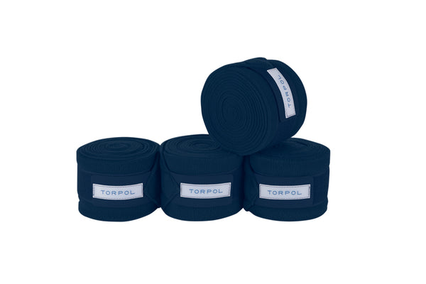Torpol luxury equestrian fleece bandages in navy. Matching items available
