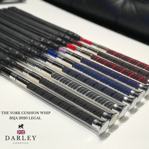 Darley equestrian whips are BS and BRC legal whips. The York has a slim grip handle with silver top and comes in a range of colours.
