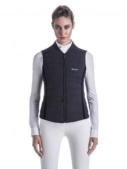 EGO7 Gilet  EGO7 sophisticated yet practical Navy blue with Black trim gilet is perfect for any occasion. A Flattering fit that enhances the feminine figure in true Italian style.