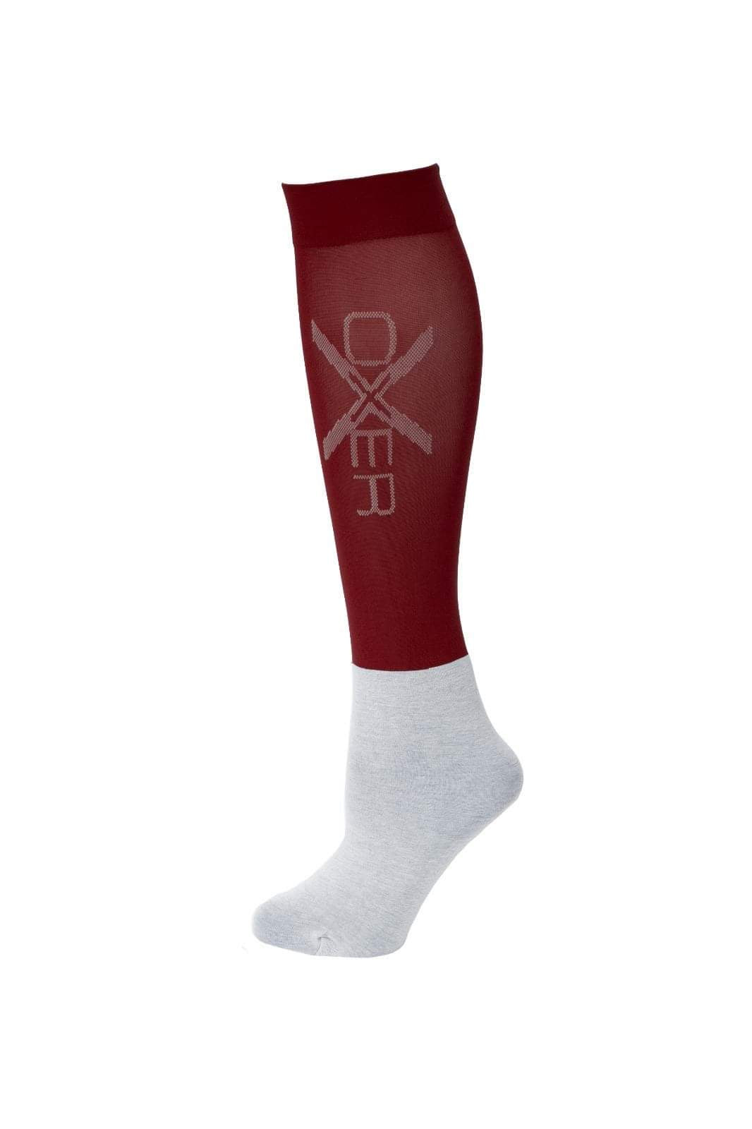 Oxer Riding Socks in Burgundy Pack of 3