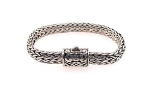 Small Handwoven Sterling Silver Bracelet with Byzantine Cutout Design - Accent's Novato