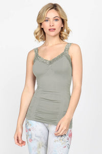 Seamless Lace Trim Cami- Assorted Colors - Accent's Novato