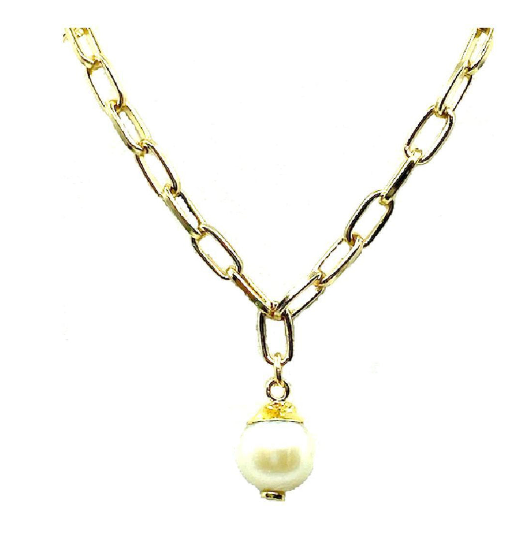 Link Chain Necklace with Fresh Water Pearl Drop