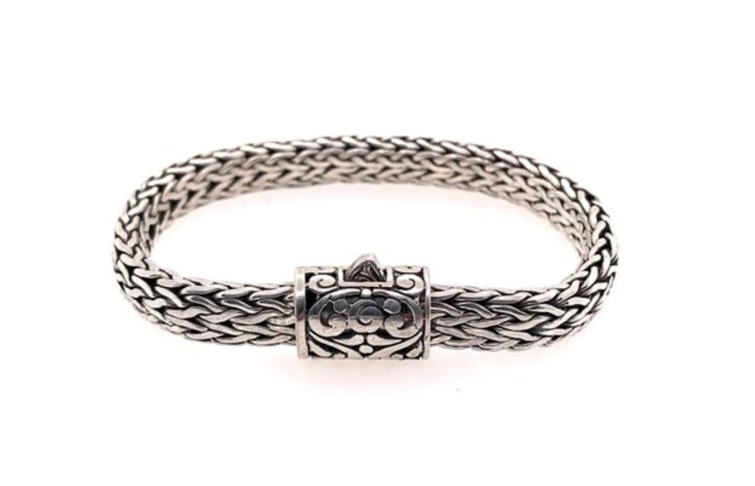 Large Handwoven Sterling Silver Bracelet with Byzantine Cutout Design - Accent's Novato