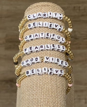 Load image into Gallery viewer, LWP Gold Beaded with White Words Bracelet
