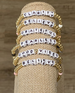 LWP Gold Beaded with White Words Bracelet