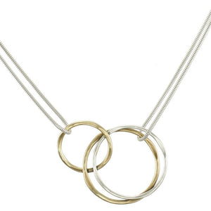 Interlocking Hammered Rings Necklace