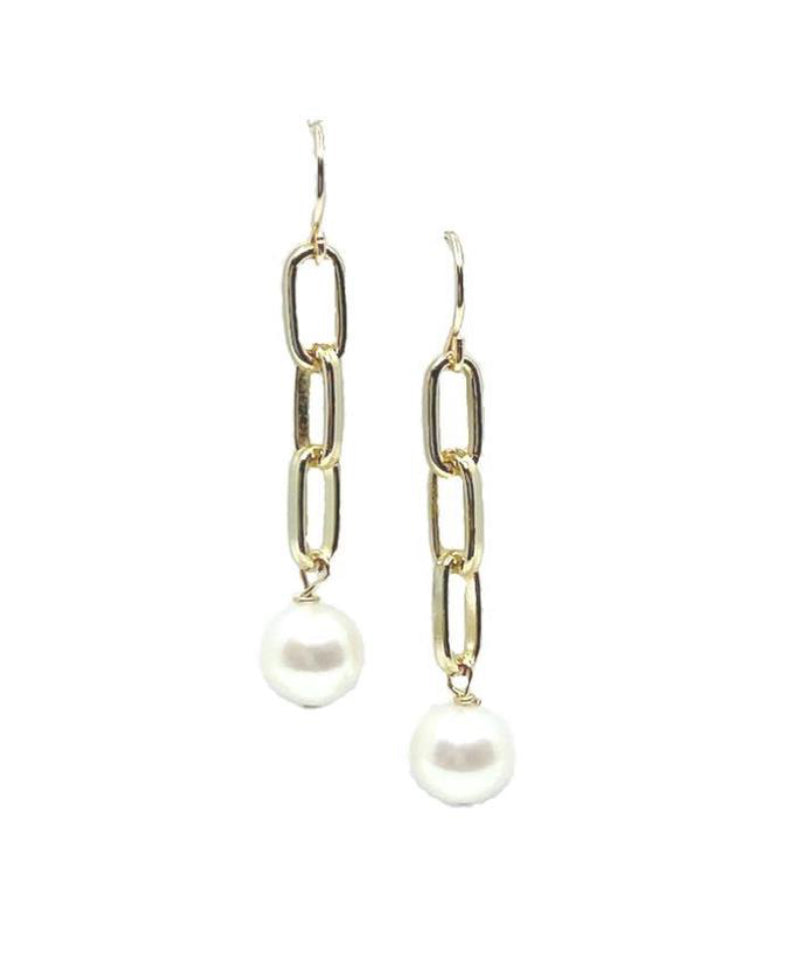 Link Chain Earring with 8m Fresh Water Pearls