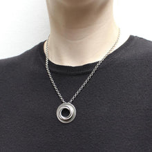 Load image into Gallery viewer, Medium Dished Ring with Thin Knot Necklace