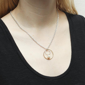 Medium Wire Rings with Pearl Drop Necklace