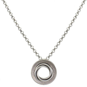 Medium Dished Ring with Thin Knot Necklace