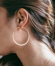 Load image into Gallery viewer, Gold Hammered Hoops