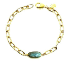 Load image into Gallery viewer, Gold Link Bracelet with Stone