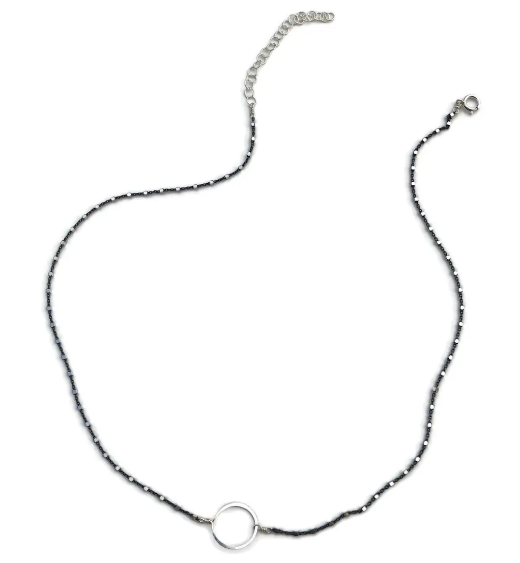 Oxidized Tiny Circle Necklace-silver - Accent's Novato