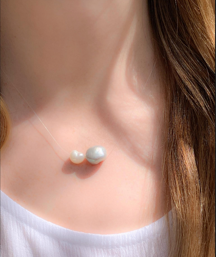 Floating Double Pearl Necklace - Accent's Novato
