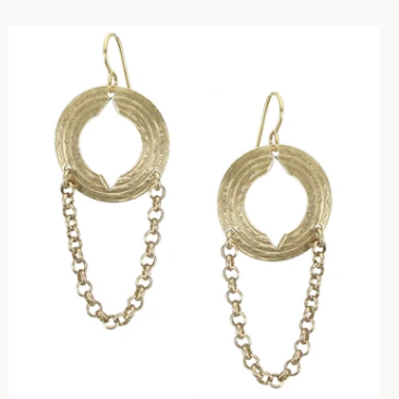 Disc with Chain Wire earring - Accent's Novato