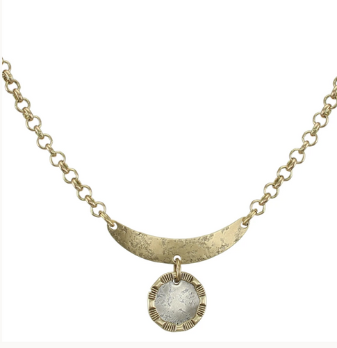 Disc and Patterned Ring Necklace - Accent's Novato