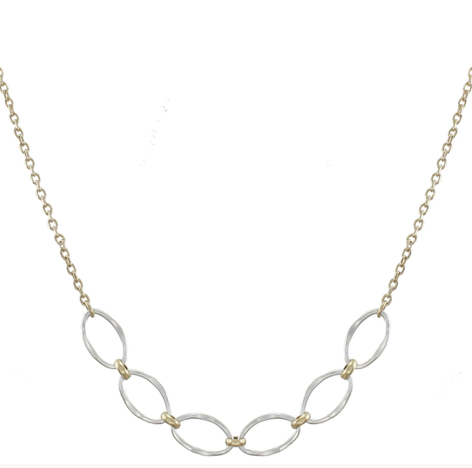 Small Hammered Oval Rings Necklace - Accent's Novato