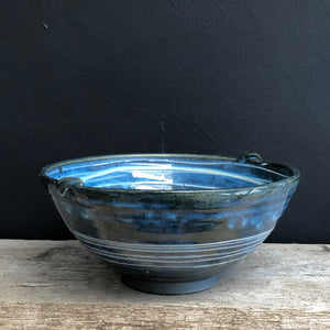 Navy Blue Bowl with White Porcelain Slip