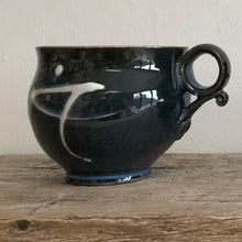 Load image into Gallery viewer, Rich Navy Blue Stoneware Mug with Porcelain Slip Trail