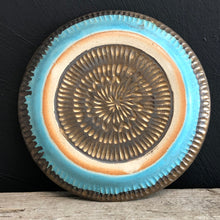 Load image into Gallery viewer, Turquoise and bronze plate with carving