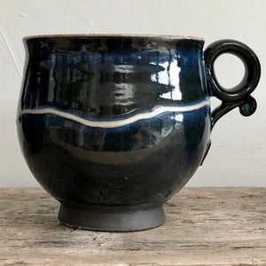Rich Navy Blue Stoneware Mug with Porcelain Slip Trail
