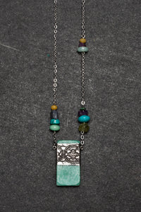 Amazonite and pewter necklace