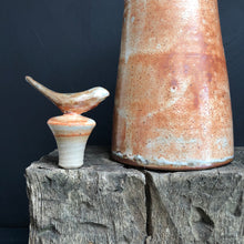 Load image into Gallery viewer, Tall stoneware pouring oil bottle with stopper