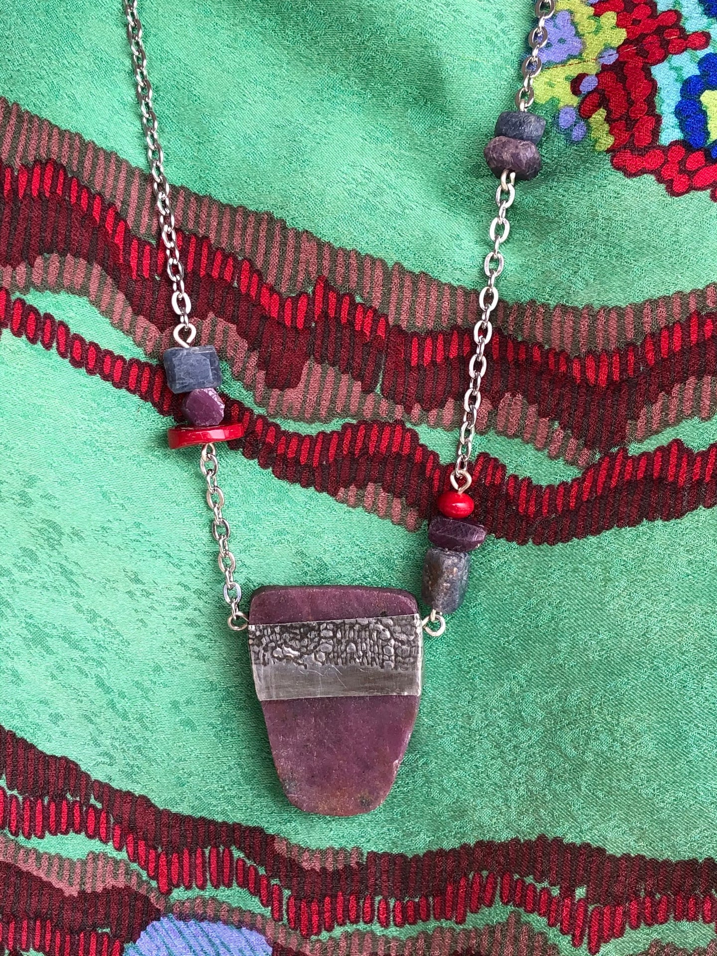 Ruby Kyanite with pewter necklace