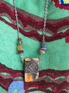 Jasper with pewter necklace