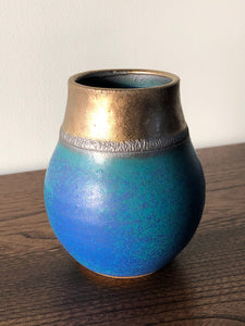 Small blue and bronze pot