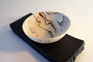 Geological Rocking Bowl on Black Porcelain Plinth