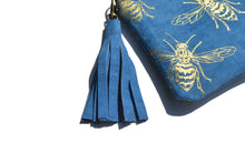 Load image into Gallery viewer, Large blue suede purse