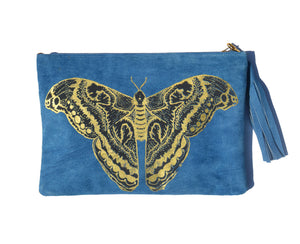 Blue Suede Moth Clutch