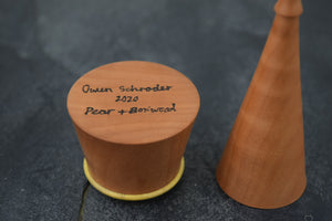 Pear wood ring box with boxwood collar