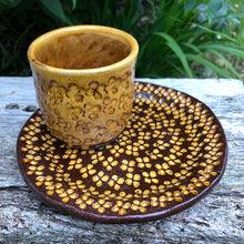 Load image into Gallery viewer, Hand thrown stamped cup and matching plate.